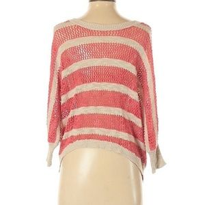 Shrinking Violet Size S Pink Sweater Stripes White